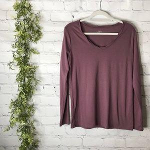 Ann Taylor LOFT Grape Twist Neck Long Sleeve Shirt